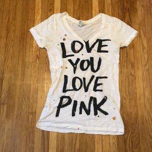 Pink Victoria secret v neck T-shirt